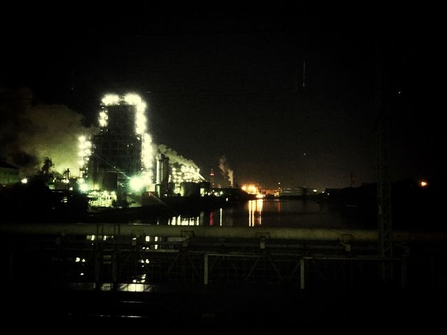 The plant is working all night. Night Architecture Plant Factory