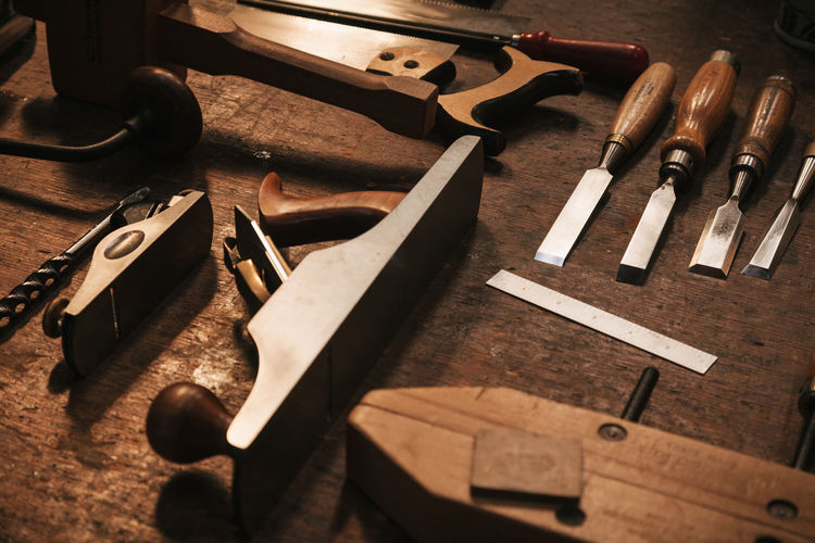 Craftsman Old Fashioned Working Accuracy Carpenter Close-up Craftsmanship  Expertise Hand Tools Handmade Indoors  Maker No People Table Tools Wood - Material Wood Shop Woodworking Work Tool Workshop