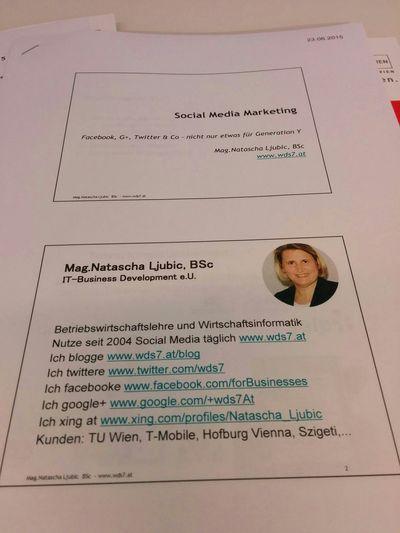 Meine Vortragsunterlagen zum Workshop Social Media Workshop Austria Wien
