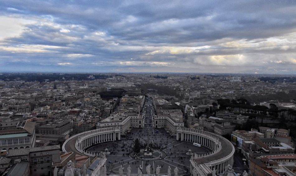 Crying sky over Vatican Vatican Saint Peter's Basilica Catholic Jesus Cityscape Architecture Aerial View City High Angle View Crowded Building Exterior Cloud - Sky Outdoors Horizon Over Land Travel Destinations Horizon Urban Skyline