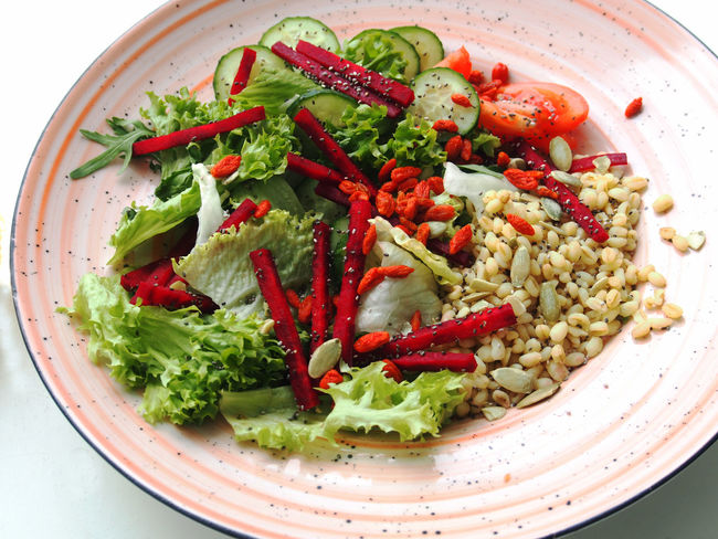 Rice Salad Bowl Chicken Fillet Close-up Day Food Food And Drink Freshness Healthy Eating High Angle View Indoors  No People Plate Ready-to-eat Red Salad Tomato Vegetable