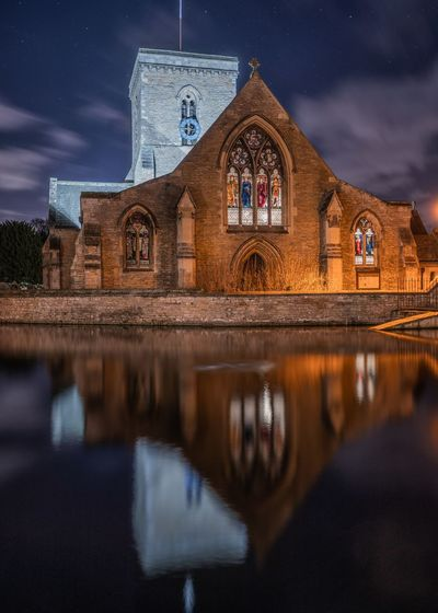 Church reflection Church Reflection Architecture Built Structure Building Exterior Night Building Sky Religion Place Of Worship Lake Water