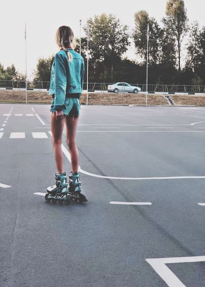 Girl Full Length Rear View One Person Road Sport Casual Clothing A New Beginning Sports Equipment Day Standing Skateboard Transportation Real People Street City Symbol Lifestyles Childhood Leisure Activity Sign Outdoors EyeEmNewHere My Best Photo