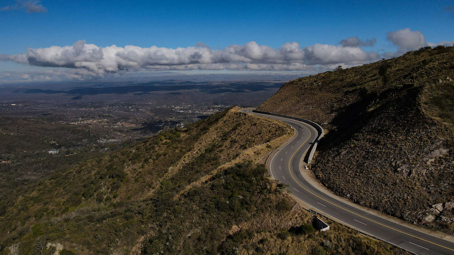 Aerial view of road by land against sky