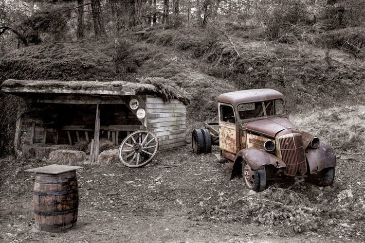 Old Truck at the 17 Mile Pub Transportation Mode Of Transportation Abandoned Land Vehicle Land Obsolete Day Old Field Damaged Plant Run-down No People Decline Tree Deterioration Nature Wheel Rusty Outdoors Ruined