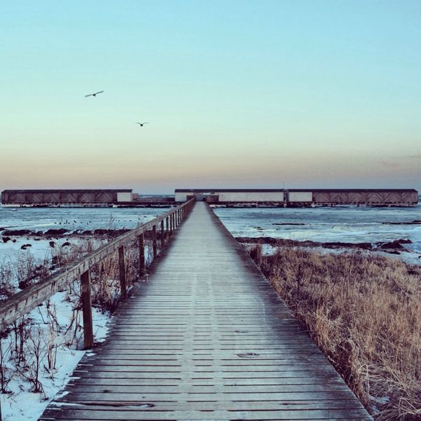 Discover Your City Landscape Landscapes With WhiteWall Landscapes Dragør Denmark Baltic Sea Balticsea Walk This Way Walkway Wooden Wooden Texture Wood - Material Winter Winter Wonderland Frozen Sunset Sky Nikon Nikonphotography Nikon D5200 50mm Sea And Sky Seascape Sea