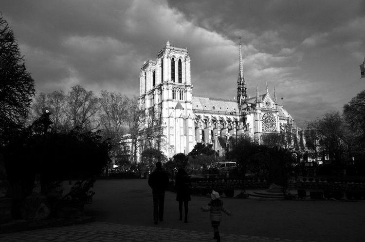 Paris ❤ Blackandwhite Monochrome Notre-Dame Church Sunday