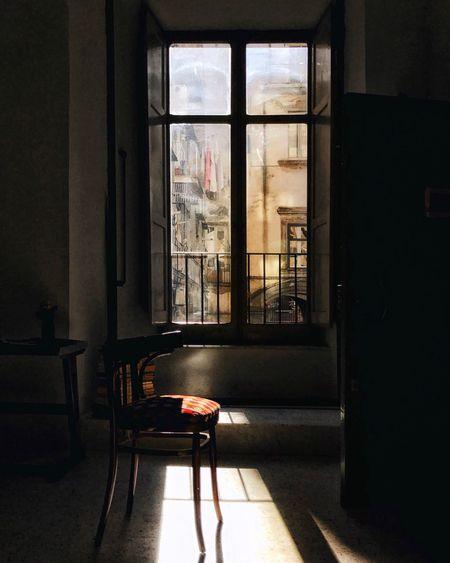 Chair seen through window