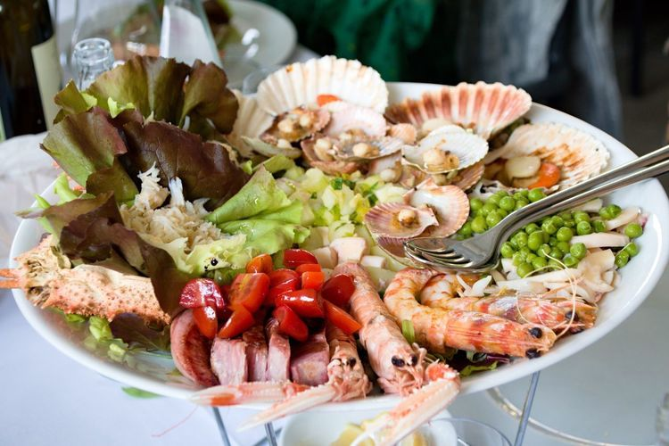 Wedding lunch at restaurant Food And Drink Freshness Food Healthy Eating Ready-to-eat Plate Seafood Serving Size No People Indoors  Close-up Day