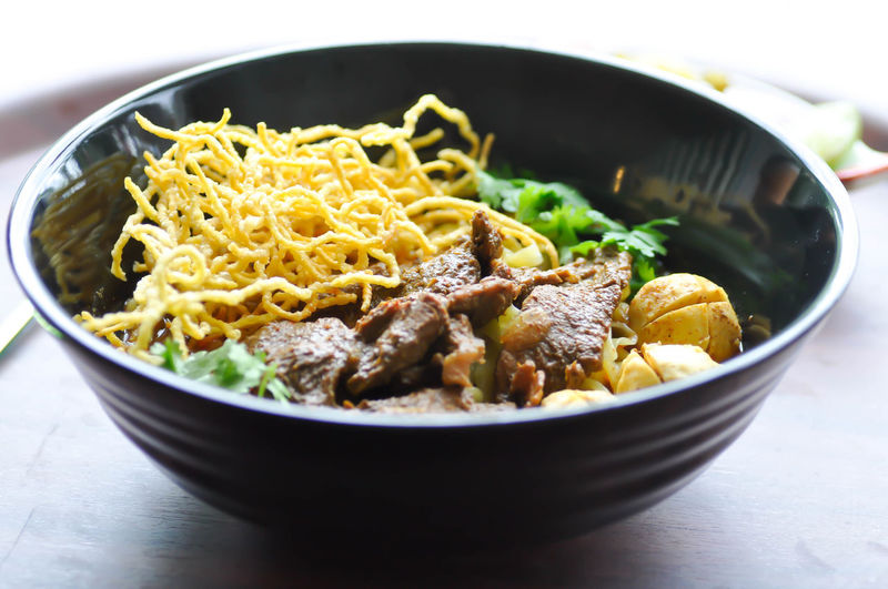Close-up of noodles in bowl