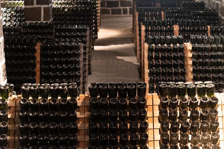 Full frame shot of beer bottles