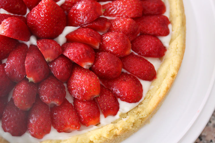 Directly above view of strawberries tart