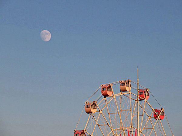 Ferris Wheel Amusementpark Moon Evening Evening Sky Moonlight 観覧車 遊園地 月 十三夜