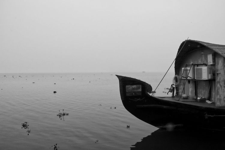 Black And White Boat Clear Sky Horizon Over Water Houseboat India Kerala Kumarakom Mode Of Transport Moored Nature Nautical Vessel Outdoors Shore Tranquil Scene Vembanad Lake Water