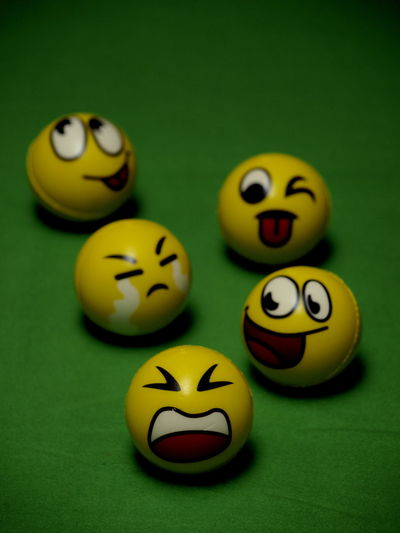 Anthropomorphic Smiley Face Close-up Creativity Green Background Grumpy Face Happy Time Moods & Feelings Moody Monday No People Pool Table