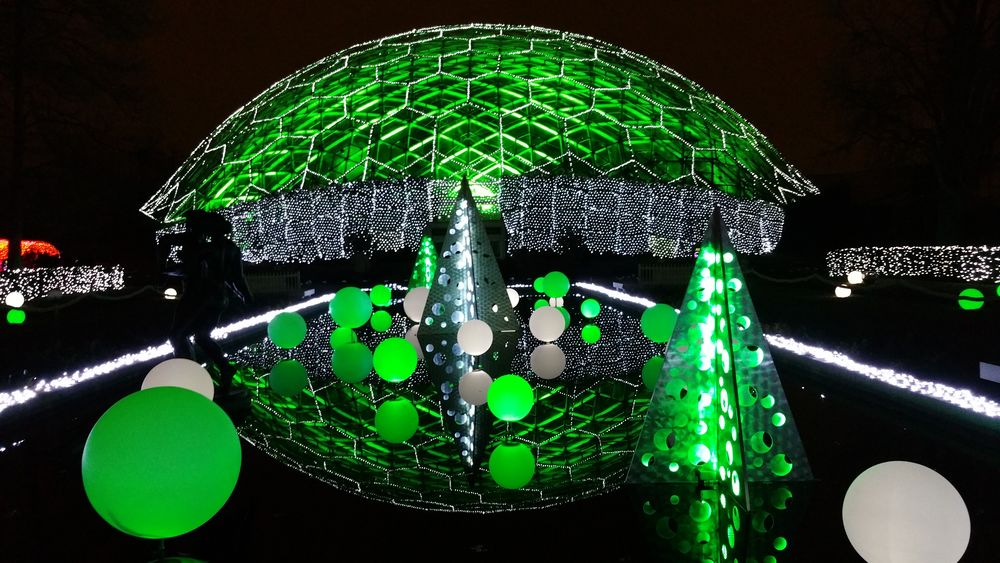 Cell Phone Photography Green Color Illuminated Glowing Christmas Decoration