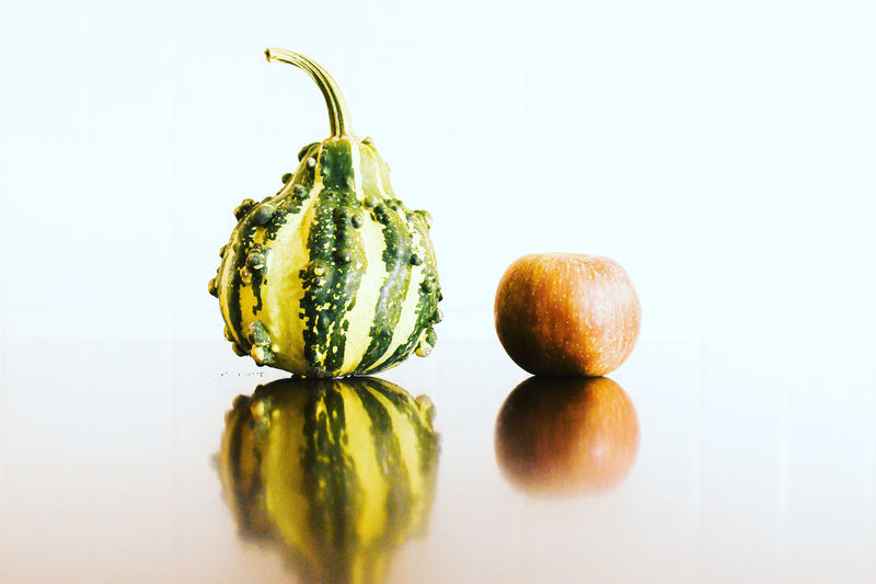 Close-up of pumpkin against white background