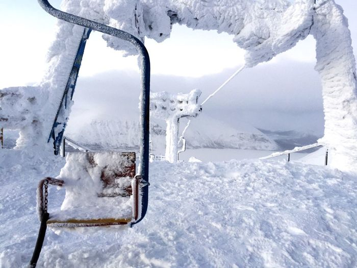Snow Covered Ski Lift During Winter