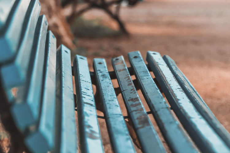 Close-up of bench in park