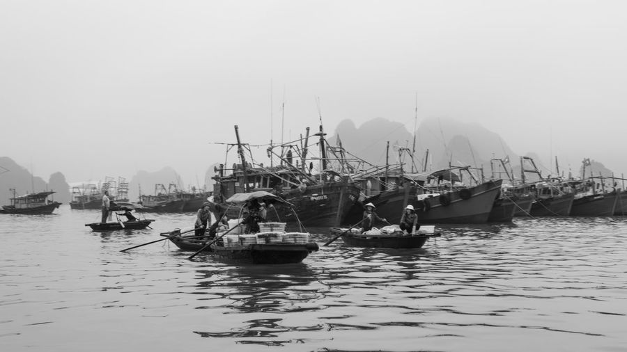 Nautical Vessel Transportation Water Mode Of Transportation Waterfront Sky Sea Moored Nature Day Harbor Sailboat Mast Pole Travel Clear Sky No People Outdoors Fishing Industry Fishing Boat Marina Passenger Craft Ha Long Bay