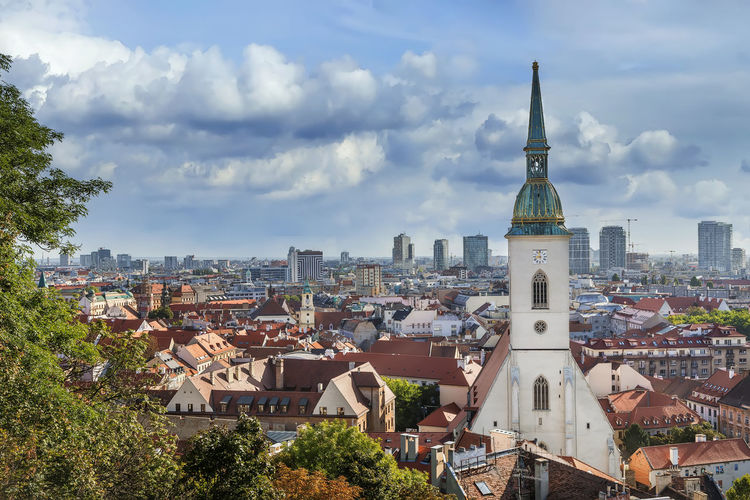 View of bratislava old town with st martin's cathedral from castle rock, slovakia