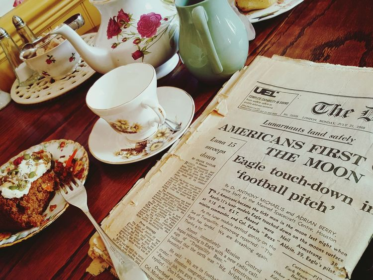 Food And Drink Indoors  Table Freshness Food Drink Refreshment Selective Focus Plate Ready-to-eat Beverage Old Newspaper Teatime Cakes English Tradition