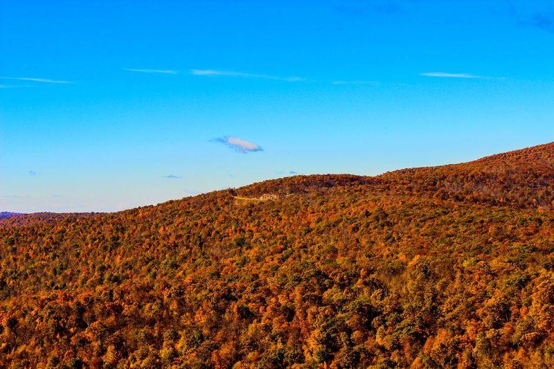 View of landscape against blue sky