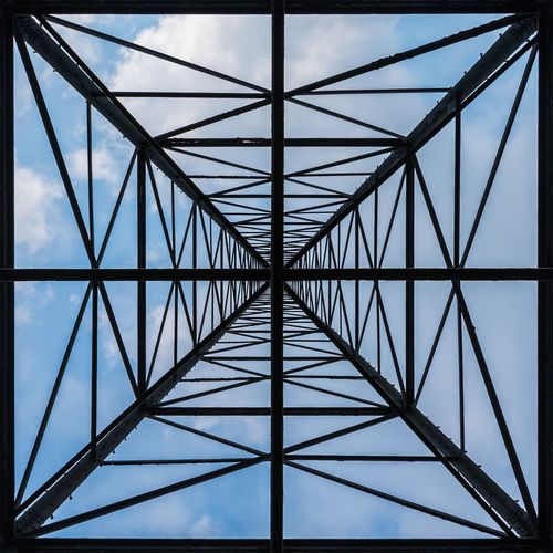 Sky Pattern Connection Low Angle View Engineering Metal No People Symmetry Symmetrical Symmetryporn Square Structure Structures & Lines Lines And Shapes Architecture Cloud Bridge - Man Made Structure Built Structure Day Outdoors Architecture Cloud - Sky Close-up Electricity Pylon Suspension Bridge
