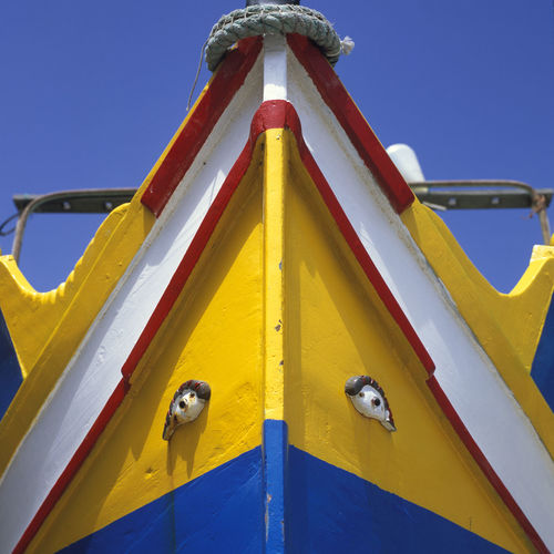 Malta, old Fisherboat Blue Fisherboat Luzzu Malta Marsaxlokk No People Old Outdoors Sky Yellow Yellow Color