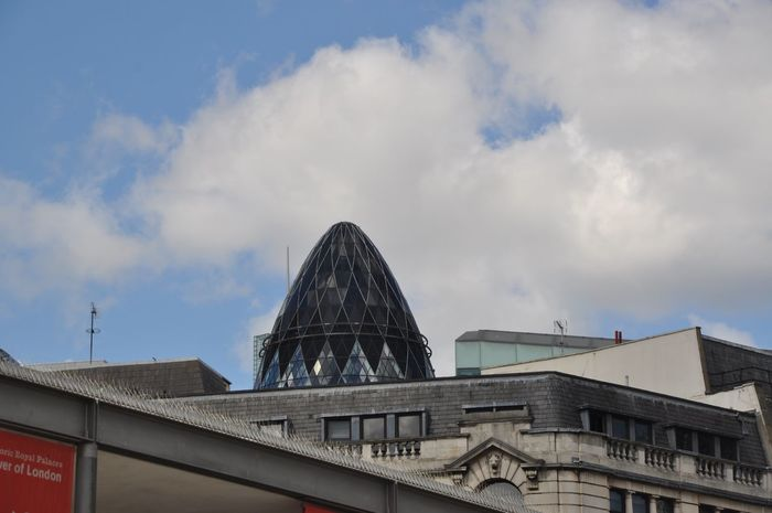 Architecture Building Exterior Built Structure Cloud - Sky Day Dome Low Angle View No People Outdoors Sky Gherkin Building
