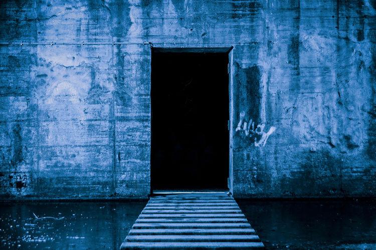 Architecture Beton Blue Built Structure Bunker Close-up Dark Door Doors Doorway Industrie Industriekultur Industrieromantik Industry Landschaftspark Duisburg-nord No People Outdoors Shelter Stages Textured