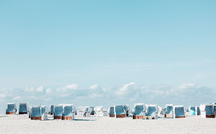 Nordic beach chairs... SPO EyeEm Selects Beach Land Sand Sky Hooded Beach Chair Nature Sea Copy Space Beauty In Nature Blue Vacations Trip Scenics - Nature Day Holiday Tranquility Water No People Built Structure