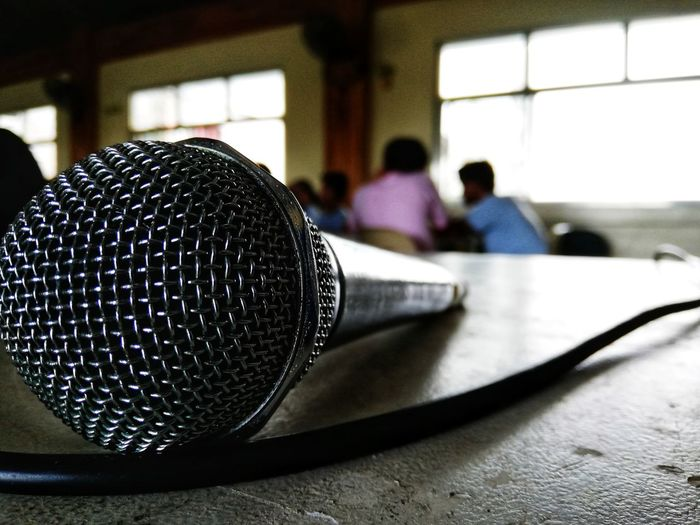 Mic Microphone Table depth of field Bokeh Wire Mic Drop Close-up