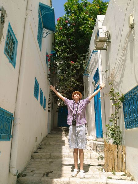 Wish I could come back to this wonderfully beautiful place someday Tunisia Sidi Bou Said One Person People Day Hanging Out Hello World Photooftheday EyeEm Best Shots Goodweather Traveling