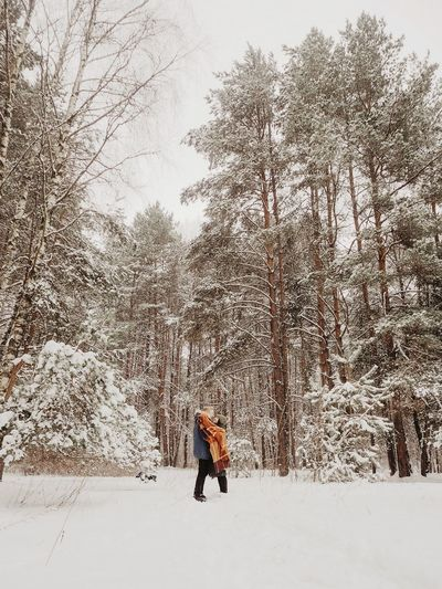 Snow hug Couple Love Forest Lovestory Winter People Portrait Green Waysofseeing