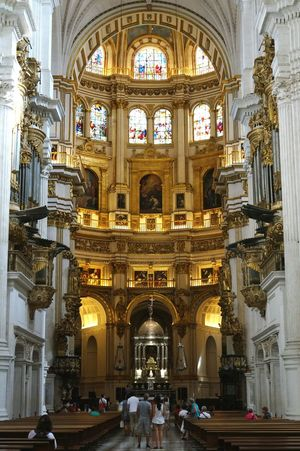 Granada cathedral. Architecture Granada Built Structure Spirituality Arch Window Place Of Worship Cathedral Building Exterior Travel TransportationCatholicism SPAIN Religion Indoors  Religion Catholic Travel Destinations Church Tourism History Person Famous Place Façade