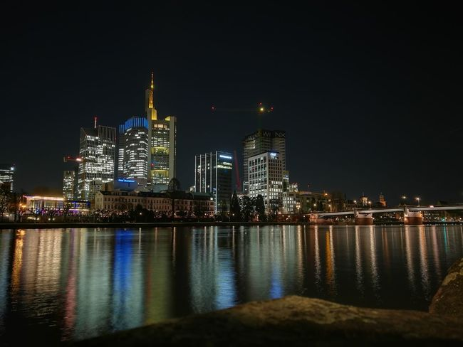 Night Business Finance And Industry Illuminated Reflection Skyscraper Cityscape City Urban Skyline No People Travel Destinations Architecture Sky Awe Built Structure Building Exterior Modern Nightlife Water Industry Outdoors Mainufer Frankfurt Frankfurt Frankfurtlovers