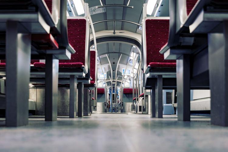U-Bahn Architecture Built Structure Day Hamburg Hamburg Hafencity Indoors  Metal Modern No People Railroad Station Platform Red Seats Seats Tecnic Transportation U4
