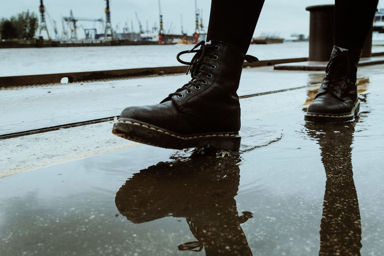 Low section of reflection in puddle
