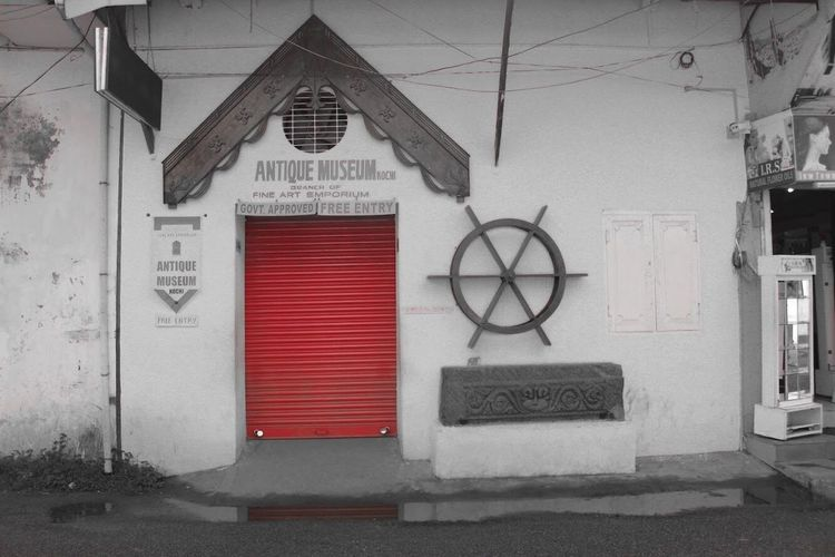 Fort kochi Architecture Text Communication Built Structure Building Exterior Closed No People Building Window Red Sign Entrance Door