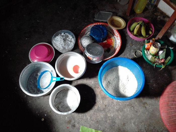 "Preparation for ""Hari Raya"". Bamboo Products Lemang Hari Raya Aidilfitri Festival Season EyeEm Selects Multi Colored Paint Variation Can High Angle View Directly Above Choice Talcum Powder Paint Can Close-up"
