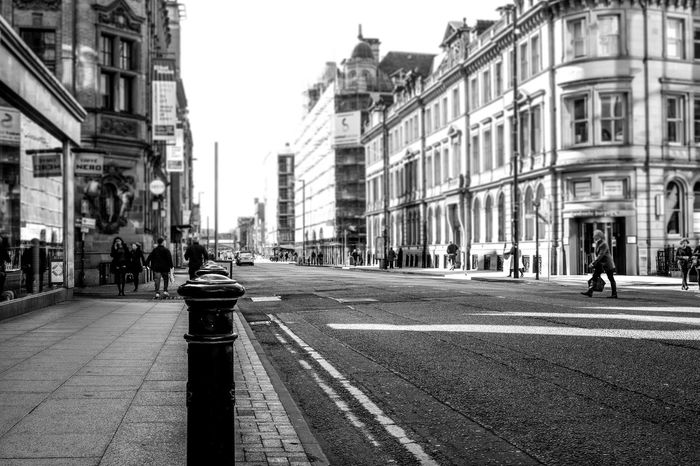 Architecture Architecture B&w Street Photography Bollards Building Exterior City City Life City Street Crossing Road Hoarding Manchester Road Street Street Scene The Way Forward Urban Street Walking
