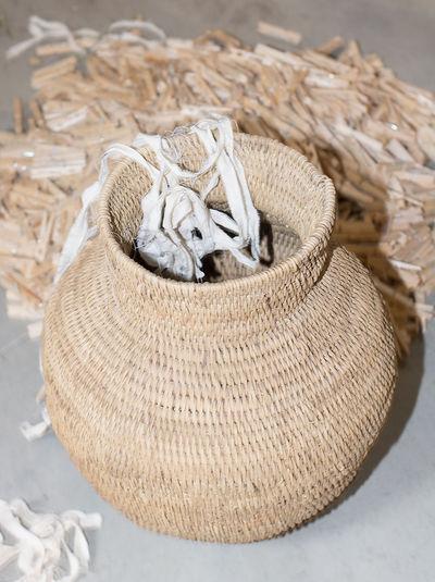 High angle view of animal basket