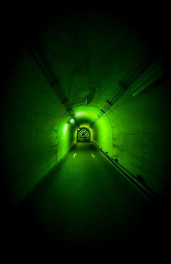 She didn't show up. Illumination Lighting Equipment Illuminated Green Color Indoors  No People Ceiling Tunnel Diminishing Perspective Light - Natural Phenomenon Architecture Light The Way Forward Electricity  Electric Light Dark Night Built Structure