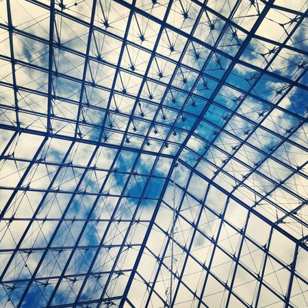 Architecture Backgrounds Building Exterior Built Structure Ceiling Day France Full Frame Grid Louvre Low Angle View Modern No People Outdoors Paris Pattern Roof Sky Skylight Squares Web