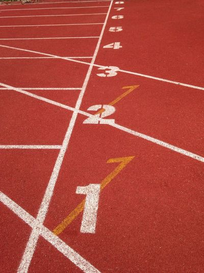 Numbers in row on sports track