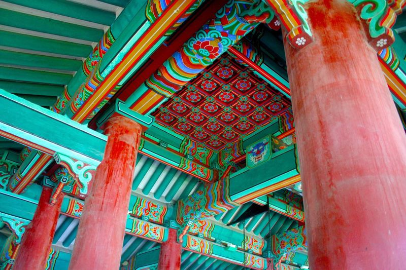 Low Angle View Of Korean Temple Ceiling