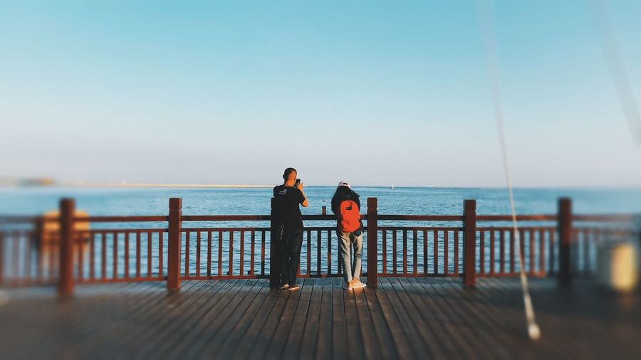 Rear view of people looking at sea against clear sky