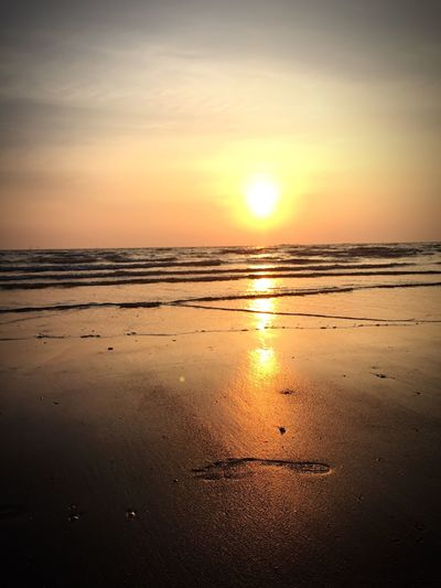 Sunset Sea Nature Beach Sun Water Beauty In Nature Sky Scenics Tranquility Sand No People Horizon Over Water Footprints Outdoors FootPrint EyeEmNewHere