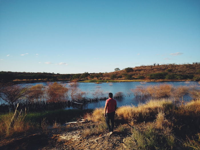 Rear view of man standing on field by lake against clear sky
